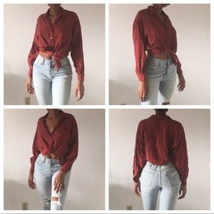 Vintage long sleeve red multi style blouse